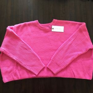NWT Cotton Candy LA Neon Pink Crop Sweater - S/M
